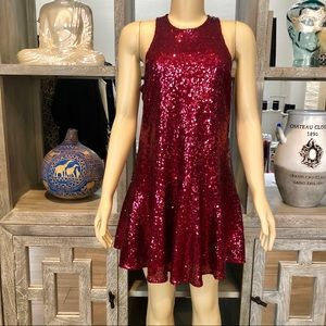 Free People Wine Color Sequins Shift Dress